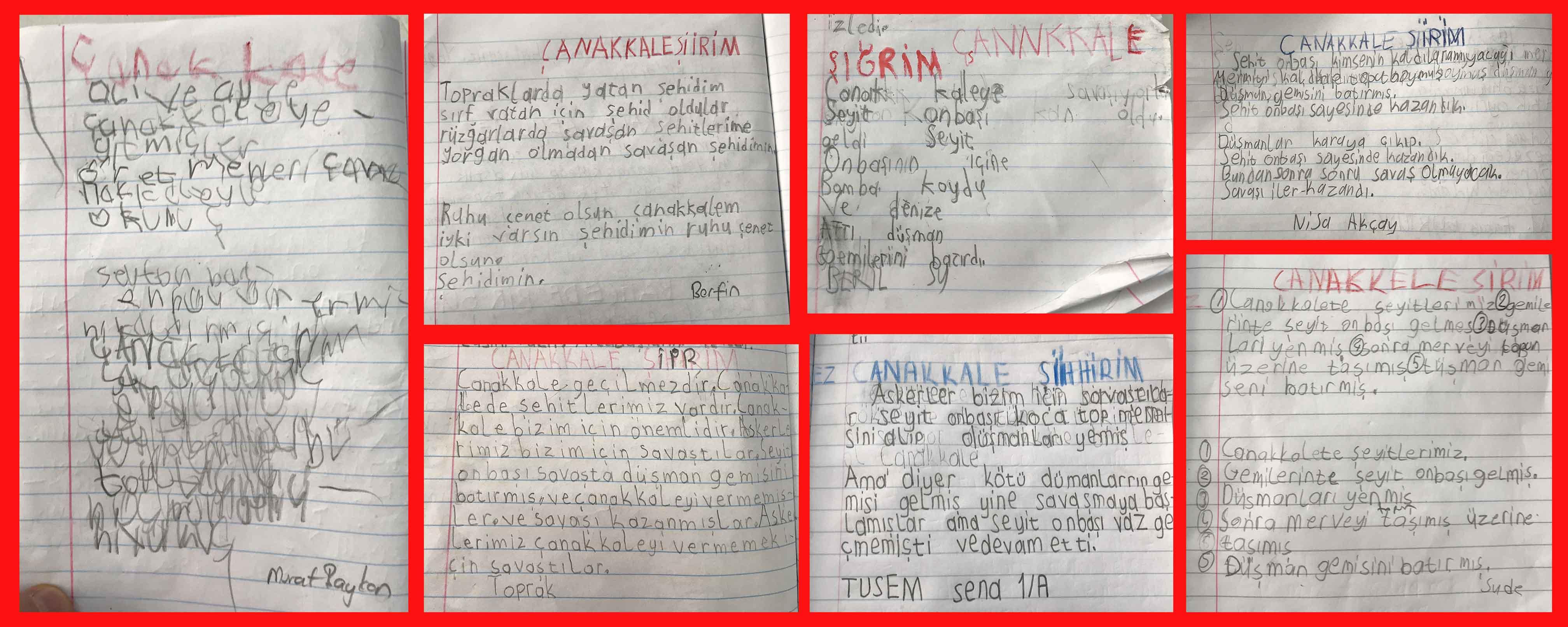 öğrencilerimizin Yazdığı çanakkale şiirleri Etkinlikler